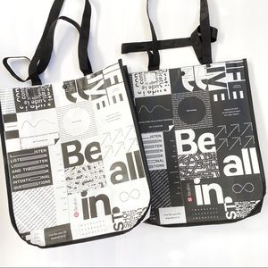 Lululemon black white large reusable shopping bag